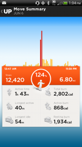Tracking daily steps with Jawbone Up Fitness Bracelet