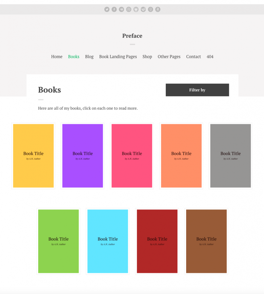Preface WordPress Theme for Authors multi-book display