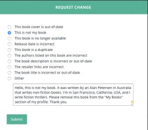 BookBub Author Profile Change Request for My Books