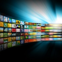 Media Television Screen with Image Gallery
