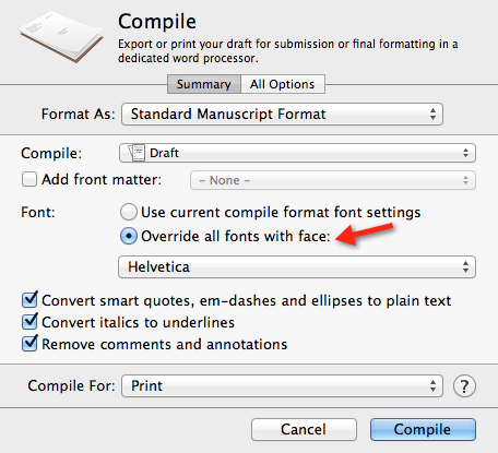 Font selection from Scrivener Compile Feature