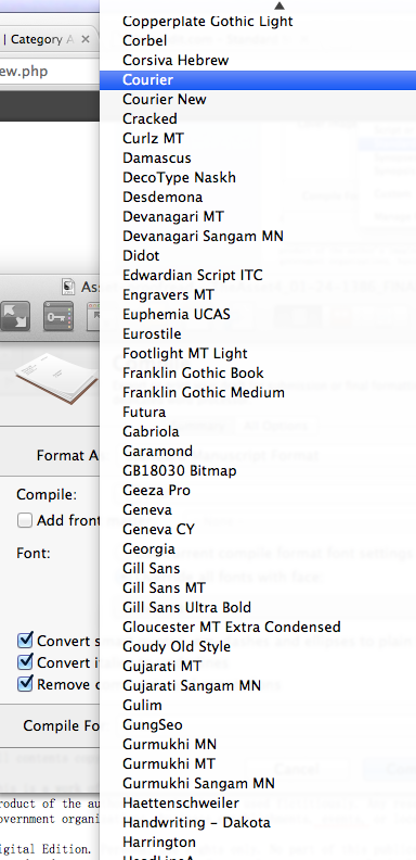 Fonts available in Scrivener Standard Manuscript Compile