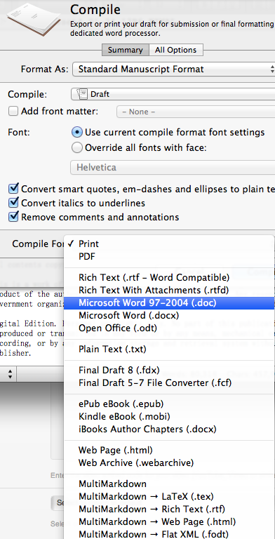 Selecting document type to compile manuscript in Scrivener