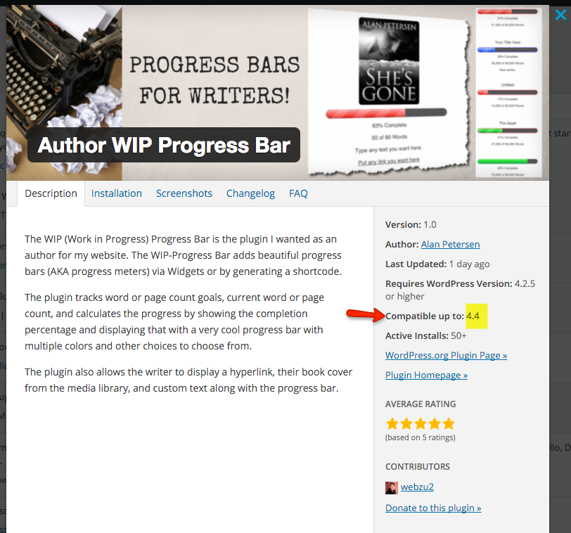WordPress 4.4. Plugin Compatibility Info