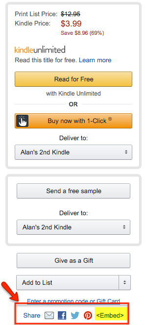 HTML code to embed Amazon book previews