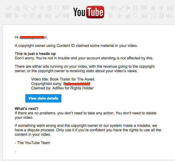 Email from YouTube about copyright claim