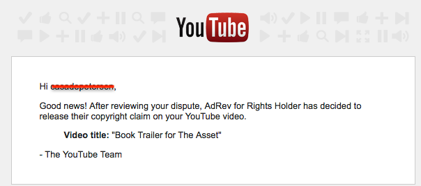 youtube copyright claim released